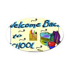 Welcome Back to School Backpack Oval Car Magnet