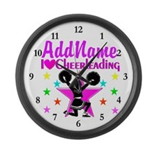 PURPLE CHEERLEADER Large Wall Clock