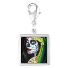 Day of the Dead Silver Square Charm