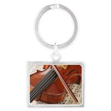 Violin and Sheet Music Landscape Keychain