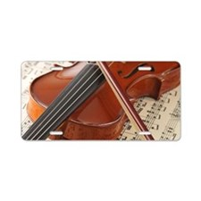 Violin and Sheet Music Aluminum License Plate