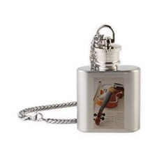 Violin on Sheet Music Flask Necklace