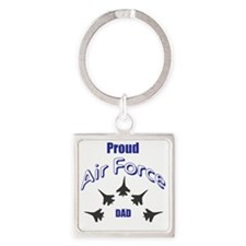 Proud Air Force DAD Square Keychain