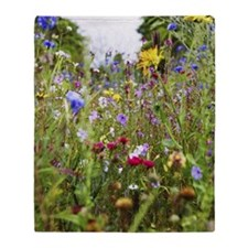 close-up of field of wild flowers Throw Blanket
