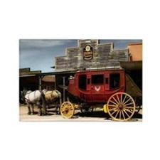 old west red stagecoach Rectangle Magnet