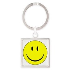 happy face - smiley Square Keychain