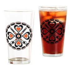 Orange and Black Hex Drinking Glass
