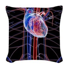 Human heart, artwork Woven Throw Pillow