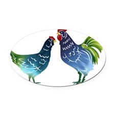 Watercolor Rooster and Hen in Blue Oval Car Magnet