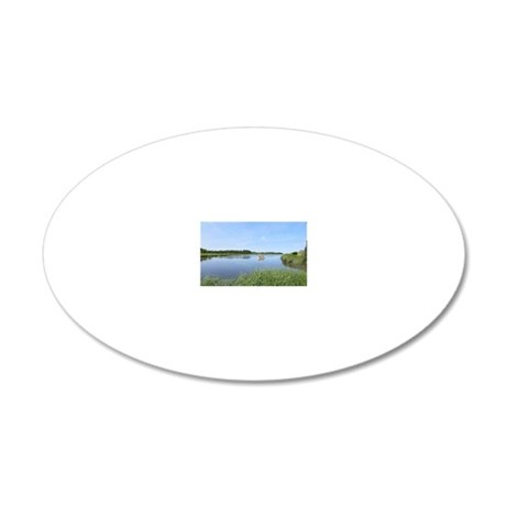 Sailboat on Acabonac Bay 20x12 Oval Wall Decal
