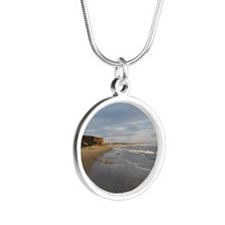 Beach And Ocean Shoreline, S Silver Round Necklace