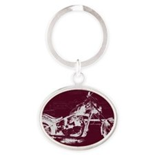 Motorcycle Art Oval Keychain