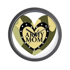 ARMY MOM CAMOUFLAGE HEART Wall Clock