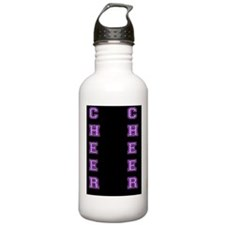 Cheer Black and Purple Water Bottle
