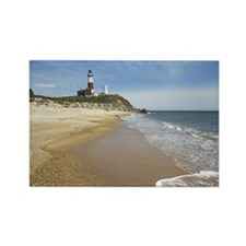 Beach with lighthouse in backgrou Rectangle Magnet