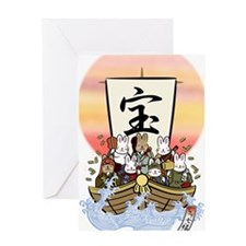 Seven Gods of good fortune against s Greeting Card