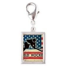 Grunge USA Hockey Silver Portrait Charm