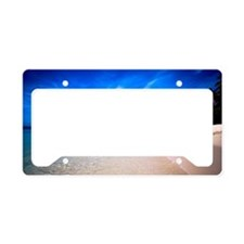 The beach of Mana island License Plate Holder