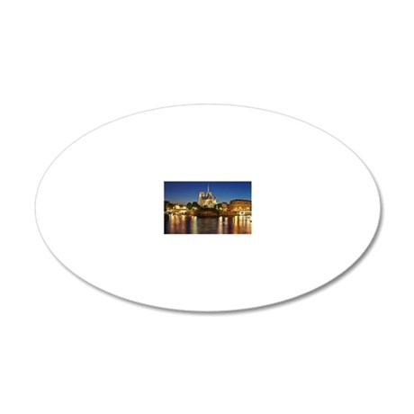 Paris, France - Notre Dame d 20x12 Oval Wall Decal