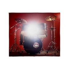 Drum kit in music studio with light  Throw Blanket