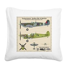 Spitfire MH434 Cutatway Bluep Square Canvas Pillow