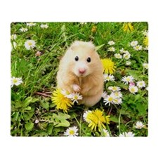 Golden syrian hamster on a spring me Throw Blanket