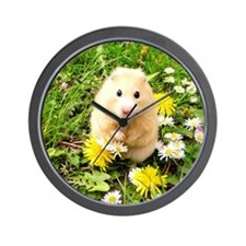 Golden syrian hamster on a spring meado Wall Clock