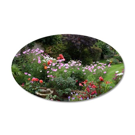 Colourful flowers in English 35x21 Oval Wall Decal