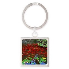 Red Fish in a pond Square Keychain