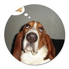 Basset thoughts Round Car Magnet