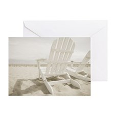 Adirondack chairs on the beach Greeting Card