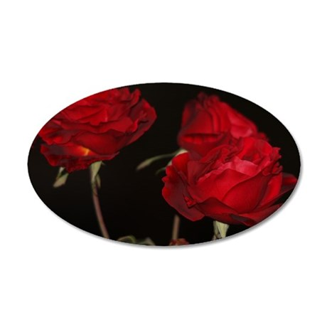 Roses in dark 35x21 Oval Wall Decal