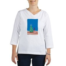 Christmas tree and two cats in  Women's Long Sleeve Shirt (3/4 Sleeve)