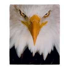 Fierce stare of a bald eagle Throw Blanket