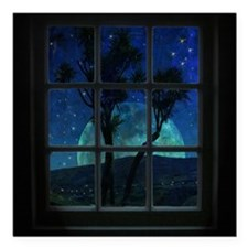 "Night view Square Car Magnet 3"" x 3"""