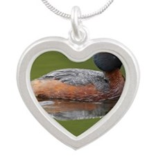Slovenian grebe Silver Heart Necklace