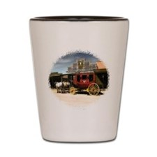 old west stagecoach Shot Glass