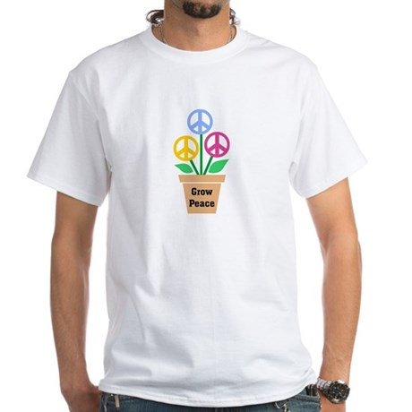 Grow Peace 2 Men's White T-Shirt