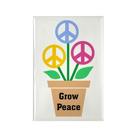 Grow Peace 2 Rectangle Magnets ~ Pack of 10