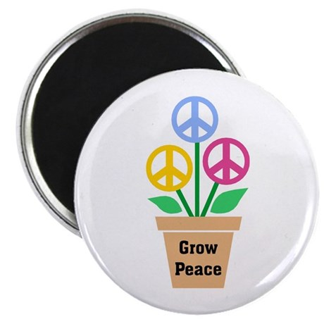Grow Peace 2 2.25 Inch Magnets ~ Pack of 10