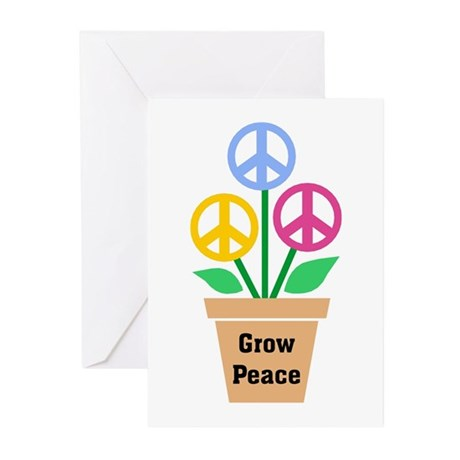 Grow Peace 2 Greeting Cards ~ Package of 10