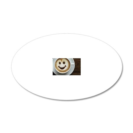 smiley coffee  20x12 Oval Wall Decal