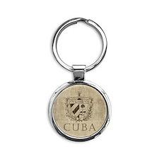 Vintage Cuba Round Keychain