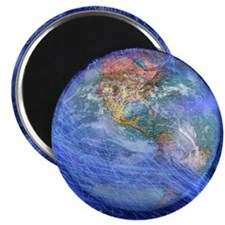 Blue fiber optic streaks around globe Magnet