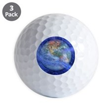 Blue fiber optic streaks around globe Golf Ball