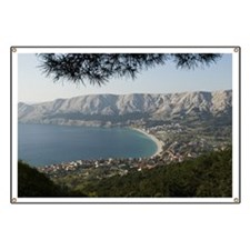 View west over the village of Baska, Krk Is Banner