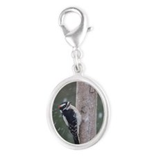 Downy Woodpecker Silver Oval Charm