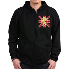 Red Union Jack Lion Rampant Zip Hoodie
