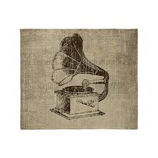Vintage Phonograph Throw Blanket