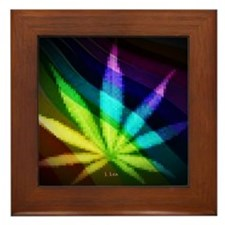 Rainbow Weed Framed Tile